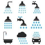 Sistema del icono del vector de la ducha y del baño Imagen de archivo libre de regalías