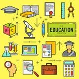 Sistema del icono del vector de la educación Foto de archivo libre de regalías