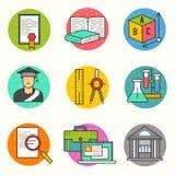 Sistema del icono del vector de la educación stock de ilustración
