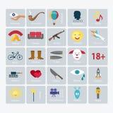 Sistema del icono del vector de los géneros de la película Fotografía de archivo libre de regalías