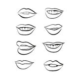 Sistema del icono del vector de los labios Fotos de archivo libres de regalías