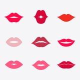 Sistema del icono del vector de los labios Foto de archivo