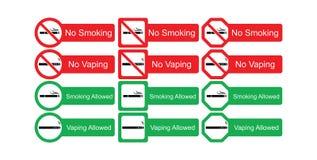 Sistema del icono del vector de no fumadores y de fumar permitidos Fotos de archivo libres de regalías