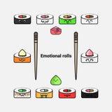 Sistema del icono del vector de sushi y de rollos Foto de archivo libre de regalías