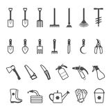 Sistema del icono del vector de utensilios de jardinería ilustración del vector