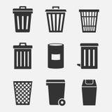 Sistema del icono del vector del bote de basura ilustración del vector