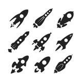 Sistema del icono del vector del cohete de espacio Imagen de archivo
