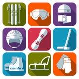 Sistema del icono del vector del deporte de invierno Diseño plano Imagen de archivo
