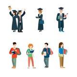 Sistema del icono del vector del estudiante Capa de los estudiantes de tercer ciclo stock de ilustración
