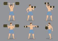 Sistema del icono del vector del levantamiento de pesas Imagenes de archivo
