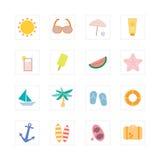 Sistema del icono del verano Imagen de archivo