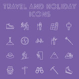 Sistema del icono del viaje y del día de fiesta Foto de archivo libre de regalías