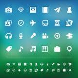 Sistema del icono del viaje y del entretenimiento de la retina Imagen de archivo libre de regalías