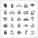 Sistema del icono del viaje y del transporte Imagen de archivo libre de regalías