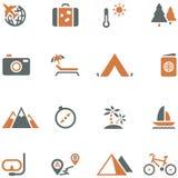 Sistema del icono del viaje y del turismo para el diseño. Imágenes de archivo libres de regalías