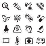 Sistema del icono del virus Fotografía de archivo libre de regalías