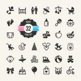 Sistema del icono del web. Bebé ilustración del vector