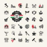 Sistema del icono del web de Italia. Foto de archivo libre de regalías