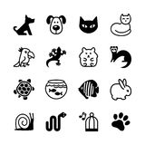 Sistema del icono del web. Tienda de animales, tipos de animales domésticos. Imagenes de archivo