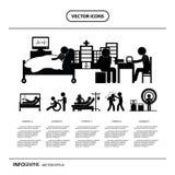 Sistema del icono del doctor y del hospital de la historieta del carácter Foto de archivo
