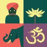 Sistema del icono del ejemplo del vector de la India libre illustration