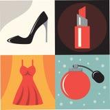 Sistema del icono del ejemplo del vector de moda de la mujer: zapatos, barra de labios, vestido femenino, perfume ilustración del vector