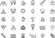 Sistema del icono el acampar, el caminar, de la naturaleza y de las actividades al aire libre stock de ilustración