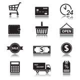 Sistema del icono el hacer compras y de las finanzas Símbolos del comercio con la reflexión Foto de archivo