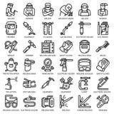 Sistema del icono del equipo del soldador, estilo del esquema ilustración del vector