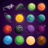 Sistema del icono del espacio de los planetas, estilo de la historieta libre illustration