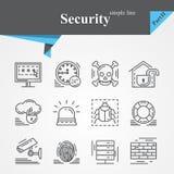Sistema del icono del esquema de la seguridad aislado stock de ilustración