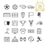 Sistema del icono del fútbol o del fútbol en el fondo blanco, vector libre illustration