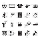 Sistema del icono del fútbol o del fútbol Iconos del vector fijados Fotos de archivo libres de regalías