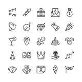 Sistema del icono del feliz cumpleaños Foto de archivo libre de regalías