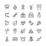 Sistema del icono del feliz cumpleaños Imagen de archivo