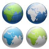 sistema del icono del globo de la tierra 3D stock de ilustración