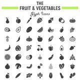 Sistema del icono del glyph de la fruta y verdura, símbolos de la comida ilustración del vector
