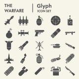 Sistema del icono del glyph de la guerra, símbolos colección, bosquejos del vector, ejemplos del logotipo, pictogramas sólidos de