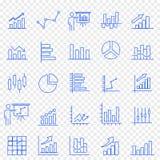 Sistema del icono del gráfico de negocio 25 iconos del vector embalan stock de ilustración
