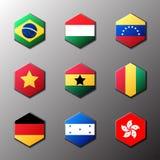 Sistema del icono del hexágono Banderas del mundo con el colorante oficial del RGB y emblemas detallados Imágenes de archivo libres de regalías