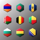 Sistema del icono del hexágono Banderas del mundo con el colorante oficial del RGB y emblemas detallados Imagen de archivo