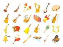 Sistema del icono del instrumento musical, estilo de la historieta stock de ilustración