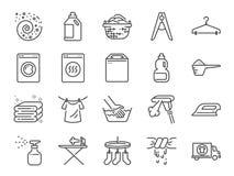 Sistema del icono del lavadero Incluyó los iconos como detergente, la lavadora, fresco, limpio, hierro y más stock de ilustración