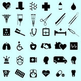Sistema del icono médico y sano de la clínica Fotos de archivo libres de regalías