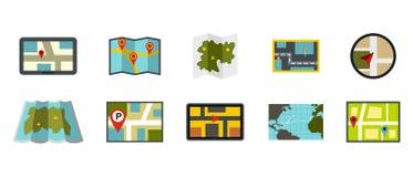 Sistema del icono del mapa, estilo plano Fotografía de archivo