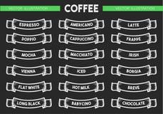 Sistema del icono del menú del café Fotografía de archivo