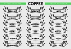 Sistema del icono del menú del café Fotografía de archivo libre de regalías