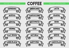 Sistema del icono del menú del café Imagen de archivo libre de regalías