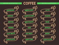 Sistema del icono del menú del café Foto de archivo libre de regalías