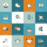Sistema del icono del negocio, de la gestión y de las finanzas Ejemplo plano del vector stock de ilustración